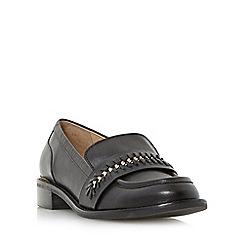 Dune - Black 'Gerard' stitch detail curb chain saddle loafer shoe