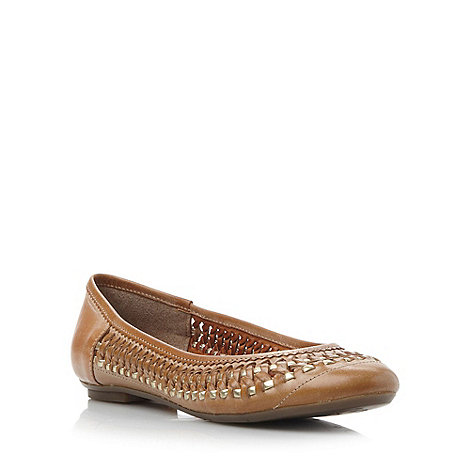 Dune - Brown woven round toe pump