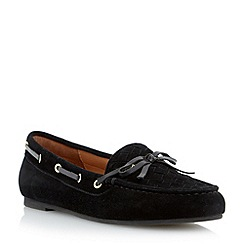 Dune - Black woven apron suede driver loafer