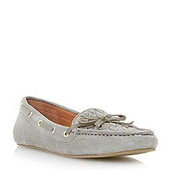 Dune - Grey woven apron suede driver loafer