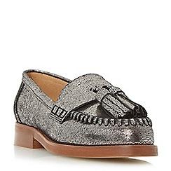 Dune - Silver 'Gallarie' whipstitch tassel loafer