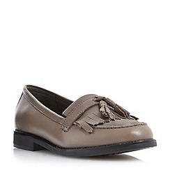Dune - Neutral fringe and tassel trim loafer