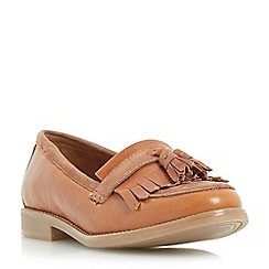 Dune - Tan 'Goosie' fringe and tassel trim loafer