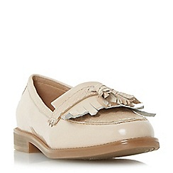 Dune - Natural 'Goosie' fringe and tassel trim loafer