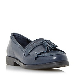 Dune - Navy 'Goosie' fringe and tassel trim loafer