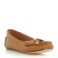 Dune - Brown metal hardware trim leather moccasin
