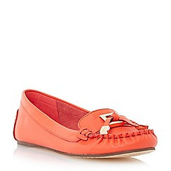 Dune - Orange-leather 'Goslin' metal hardware trim leather moccasin