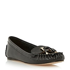 Dune - Black metal hardware trim leather moccasin