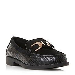 Dune - Black 'Genre' reptile print leather loafer