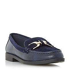 Dune - Navy 'Genre' reptile print leather loafer