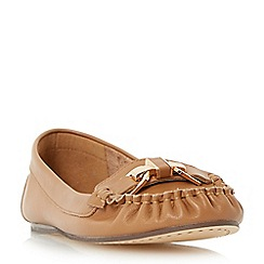 Dune - Tan 'Gilda' metal trim moccasin loafer