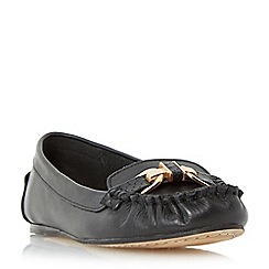 Dune - Black 'Gilda' metal trim moccasin loafer