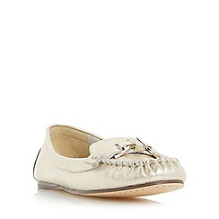 Dune - Gold 'Gilda' metal trim moccasin loafer