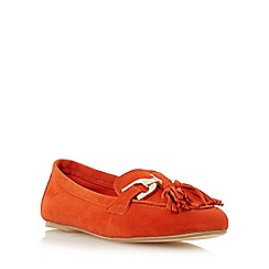 Dune - Orange 'Gen' snaffle detail tassel loafer