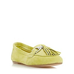 Dune - Light green 'Gen' snaffle detail tassel loafer shoe