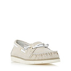 Dune - Gold 'Galley' flat lace up boat shoe