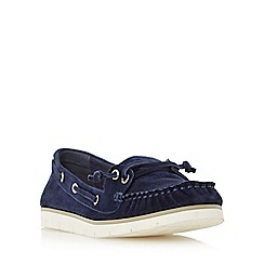 Dune - Navy 'Galley' flat lace up boat shoe