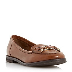 Dune - Tan 'Glimmer' metal tag bow trim leather loafer