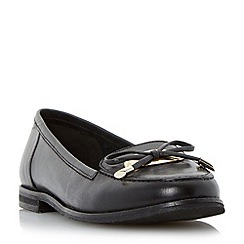 Dune - Black metal tag bow trim leather loafer