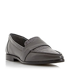 Dune - Grey 'Granita' pointed toe leather loafer