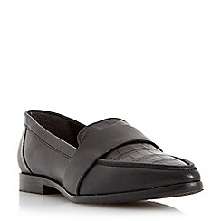 Dune - Black 'Granita' pointed toe leather loafer