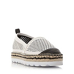 Dune - White 'Georgina' perforated white sole slip on shoe