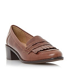 Dune - Brown mid block heel penny loafer