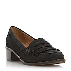 Dune - Black mid block heel penny loafer