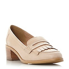 Dune - Natural 'Gwyneth' mid block heel penny loafer