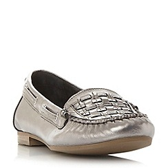 Dune - Silver 'Goffy' woven detail moccasin flat shoe