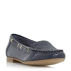 Dune - Navy 'Goffy' woven detail moccasin flat shoe