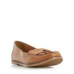 Dune - Tan 'Gillie' tassel and fringe detail loafer shoe