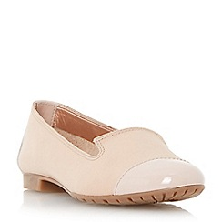 Dune - Taupe-leather 'Genevieve' patent toecap slipper cut shoe