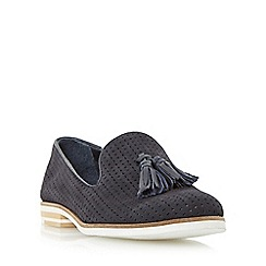 Dune - Navy 'Gale' laser cut tassel loafer