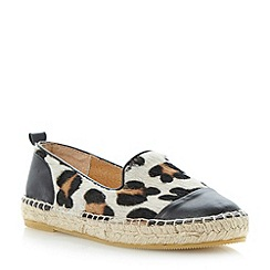 Dune - Leopard slip on mixed leather espadrille shoe