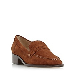 Dune - Dark tan 'Gandy' unlined suede loafer