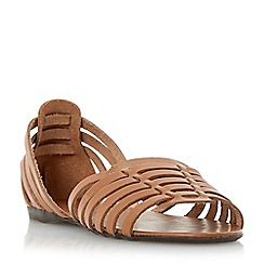 Dune - Brown woven haurache style leather sandal
