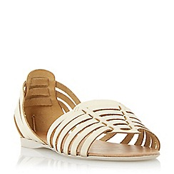 Dune - Metallic woven haurache style leather sandal