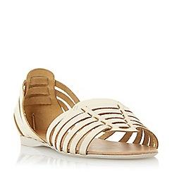 Dune - Metallic woven haurache style leather sandal