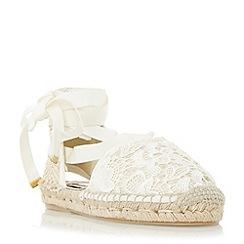 Dune - Cream 'Glowe' crochet lace up espadrille shoe