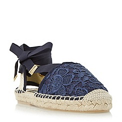 Dune - Navy 'Glowe' crochet lace up espadrille shoe