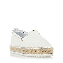 Dune - White 'Galacta' stud detail slip on espadrille shoe
