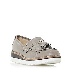 Dune - Light grey 'Gallaxie' leather flatform loafer