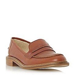 Dune - Tan 'Gerry' saddle detail leather loafer