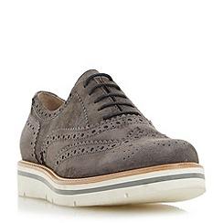 Dune - Grey 'Feathers' suede flatform brogue shoe