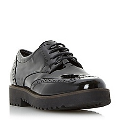 Dune - Black 'Feean' thick sole lace up brogue shoe