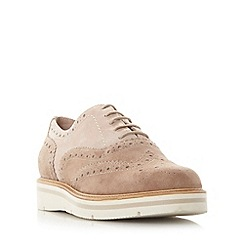 Dune - Light pink 'Feathers' suede flatform brogue shoe