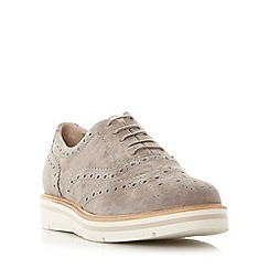 Dune - Grey 'Feathers' suede flatform brogue shoe