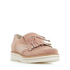 Dune - Pink 'Gravitie' brogue and fringe detail flatform shoe