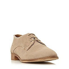 Dune - Taupe 'Faris' suede textured oxford shoe